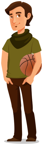 Sam holding a basketball